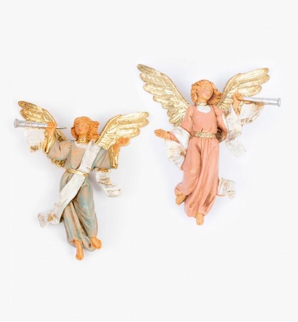 Trąbiące aniołki (15D-15S) do szopki wys. 12 cm